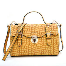New Anais Gvani Croco Leather Satchel Handbag Buckled Push-Lock Shoulder Bag