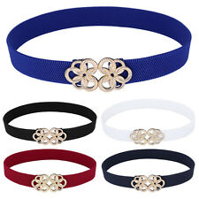 Fashion Women's Lady Skinny Metal Floral Interlock Buckle Elastic Waistband Belt