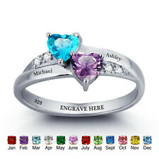 Engraved Promise Ring, Promise Ring Birthstone Sterling Silver Personalized