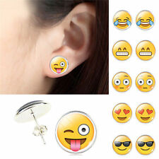 2 Pairs Funny Glass Emoji Cabochon Stud Earrings Silver Stud  for Women Jewelry