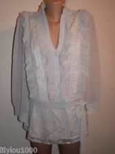 NEXT GREY LACED RUFFLED TUNIC BLOUSE SIZE 10T NWT RP£45