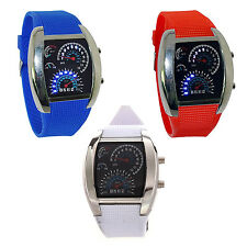 Flash LED Men Sports Car Meter Dial Stainless Steel Rubber Band Watch ZH