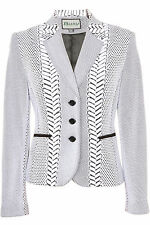 Busy Ladies White and Black Patterned Jacket