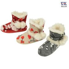 Ladies Pom Pom Bootie Slippers Dunlop Warm Lined Indoor Ankle Boots Soft Shoes