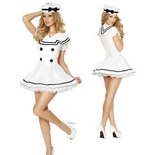 Ladies Sexy White Sailor Navy Girl Costume Halloween Hen Night Party Fancy Dress