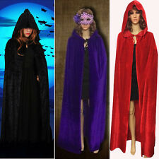 Medieval Velvet Hooded Cloak/coat/Cape Wedding Shawl Halloween Pagan Wicca Robe