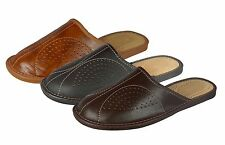 New Mens Slippers, Flip Flops Mules With Leather Insole Or Wool Lining Size 6-12
