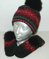BURGUNDY 100% WOOL 100% COTTON STRIP HAT MITTENS REMOVABLE BLACK FOX FUR POMPON