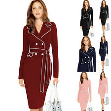 Autumn Winter Womens Vintage Long Sleeve Lapel Collar Elegant Slim Bodycon Dress