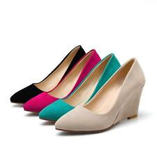 Womens Faux Suede Wedge High Heels Pumps Fashion Pointy Toe Shoes AU All Size