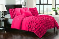 All Size New Waterfall Half Ruffle Duvet Cover Set Hot Pink 1000TC 100% cotton