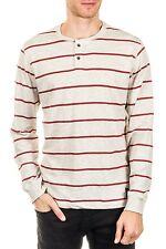 Henley Thin Striped  Long Sleeve Slub NEW Mens Oatmeal Red 3 Button PX