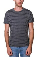 T-shirt Burnout All Over Print Crew Neck Short Sleeve NEW Mens Charcoal PX