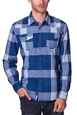 Shirt Large Plaid Long Sleeve Button Down NEW Mens Blue Navy PX