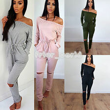 New Womens Off Shoulder Evening Party Playsuit Ladies Split Knee Jumpsuit Romper