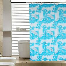 78'' Cartoon Dolphins Polyester Waterproof Bathroom Fabric Shower Curtain Hooks