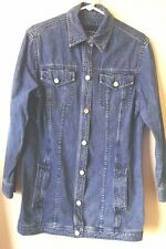 EMANUEL UNGARO LIBERTE Jacket Coat Distressed Denim Longer length Small S