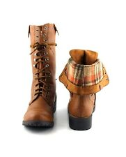 Mid Tan Lace Up Military Combat Hip Urban Folded Look Lug Sole Mid Calf Boot