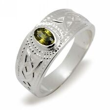 Solid Silver and Peridot Stone Irish Celtic Ring Made In Ireland Gift Boxed