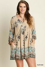 UMGEE Boho Peasant Dress Pockets Beige Blue XLarge Plus 1XL 2XL NWT U4