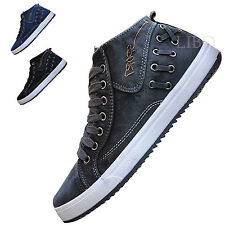 Fashion Casual Men High Top Sneakers Lace Up Denim Cowboy Shoes Trainers Flats