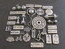 CUSTOM FITSPO KEY RING Choose Any 2 Charms - suit Gym,Crossfit, Running, Fitness