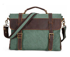 Vintage Men Canvas Leather Messenger Traveling Briefcase Shoulder Laptop Bag
