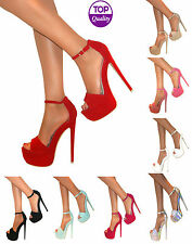 WOMENS LADIES PEEP TOE ANKLE STRAP PLATFORM STILETTO HIGH HEEL SANDAL SHOES SIZE