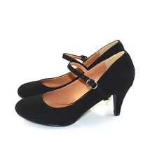 Black Nubuck Leatherette  Awesome Cutie Round Toe Mary Jane Mid Heels Pumps