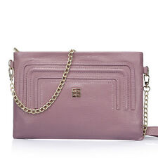 New Genuine Leather Chain Satchel Tote Clutch Cross Body Single Shoulder Bag