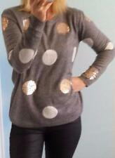 Grey wool spotty jumper with gold sequins