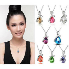 1x Fashion White Gold Plated Crystal Eternal Love Teardrop Pendant Necklace FYU