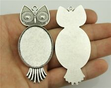 7pcs fit 30*40mm Cameo Cabochon Bronze or Silver Oval Large Owl Base Setting