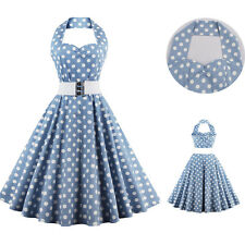 Vintage Polka Dot 50s 60s Rockabilly Big Circle Party Dance Swing Dress Belted