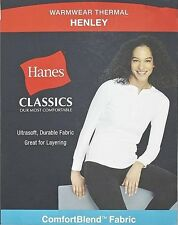 New! Hanes White Long Sleeve Warm Wear Henley Thermal Layer Women's Shirt