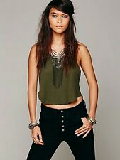 NWT Free People 'We The Free' Olive Green Ribbed Crop Tank Top Shirt Sz XS-L $28