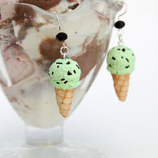Large Mint Chocolate Chip Ice Cream Waffle Cone Earrings, Ice Cream Earrings
