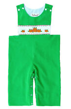 Boys Smocked Pumpkins Green Cotton Infant Toddler Overalls NWT Babeeni