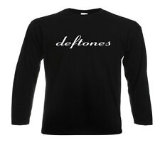DEFTONES Punk Grunge Rock Band Logo Long Sleeve Black T-Shirt