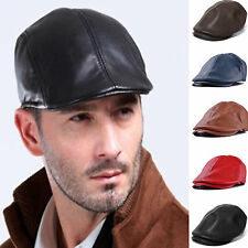 Unisex Leather Flat Newsboy Gatsby Bonnet Cabbie Beret Cap Ivy Hat Golf Driving