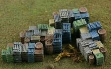 Fruit Crates and Barrels.....piles and piles of them, Come FINISHED in HO Scale