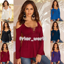 Plus Size Womens Casual Lace Up Off Shoulder Long Sleeve Tops Blouse T-shirt Tee