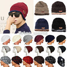 Pop Beanie Hat Mens Ladies Knitted Winter Warm Oversized Plain Slouch Cap Unisex