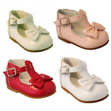 BABY TODDLER GIRL SPANISH PARTY WEDDING FLOWER GIRL SPARKLY BOW WALKING SHOES