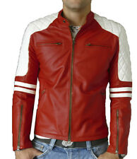 New Men's Red Genuine Lambskin Leather Slim Fit Biker Motorcycle Jacket MJ43