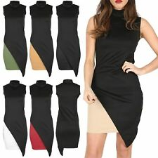 Womens Ladies Turtle Polo Bodycon Midi Dress Asymmetric Cut Out Ladies Top