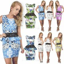 Womens Sleeveless Ladies Stretch PVC Frill Printed Pencil Peplum Club Mini Dress