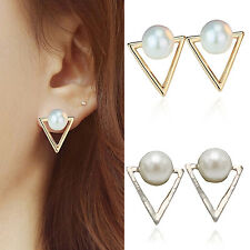 High Fashion Vintage Lady Womens Pearl Triangle Ear Stud Earrings Jewellery Gift