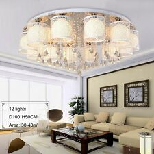 Modern Crystal Chandelier w/ Colored LED Beads Hollow Out Glass Lamp Shade