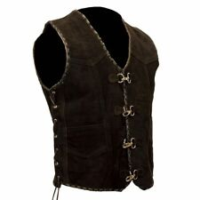 Mens Motorcycle Suede Vest Biker Rider Leather Vest Black Leather Braiding XS-8X